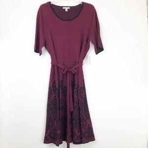 Dress Barn Womens 2X Red Sweater Dress Black